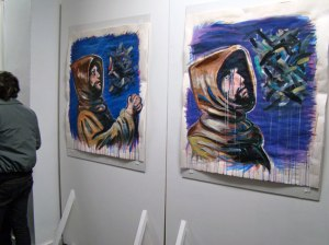 """Enter Batgirl, Exit Illuminazi"" (Installation View), Maniac Gallery"