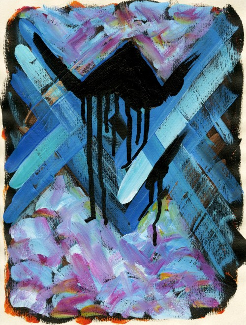 """""""Artificial Tears #7,"""" Acrylic on Paper, 12 x 9 in, June 10-11, 2013"""