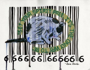 """The Most Honest Barcode/2010,"" Acrylic and Ink on Paper, 9.5 x 12 in, Jan 2010"