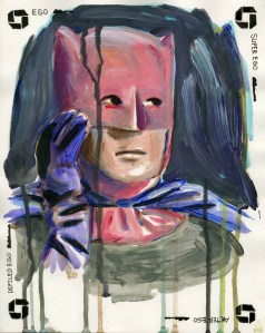 """The Pink Mask #2,"" Acrylic and Ink on Paper, 12 x 9.5 in, Jan 2010"