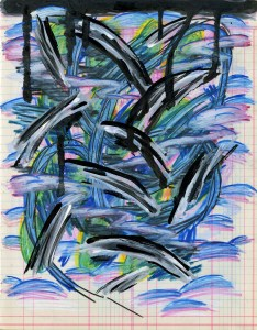 Acrylic, China Marker and Colored Pencil on Paper, 10 x 8 in, October 2012