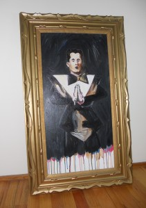 """Portrait of Klaus Nomi,"" Acrylic on Canvas, 30 x 15 in. (w/o frame), Feb. 2010"