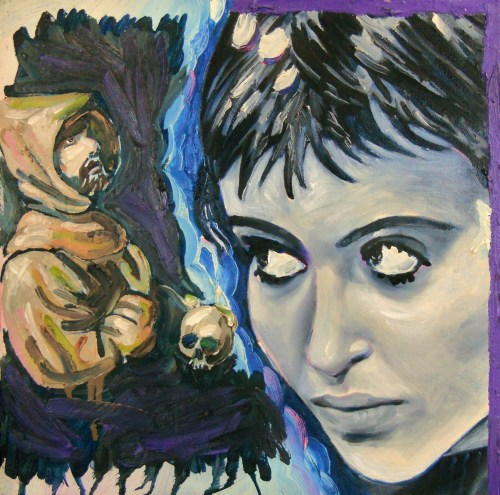"""""""The New Wave (Anna's Daydream),"""" Oil on Canvas, 16 x 16 in, 2008/July 2011"""