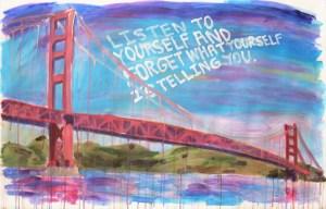 """The Bridge,"" Acrylic on Paper, 18 x 36 in."