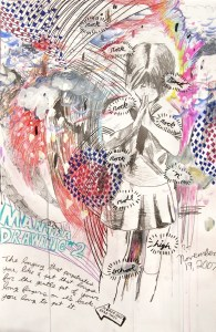 """""""Mantra Drawing #2,"""" Mixed Media on Paper, 36 x 20 in, 2007"""