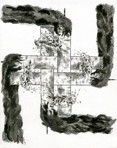 """""""Millennium Swastika #1,"""" Ink and Acrylic on Paper, 12 x 9.5 in, Jan 2010"""