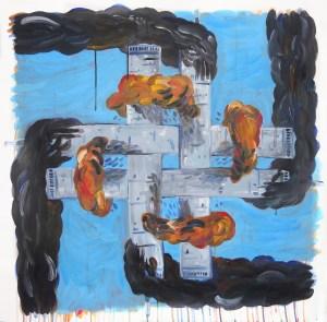 """Millennium Swastika #2,"" Acrylic on Paper, 36 x 36 in, Feb. 2010"