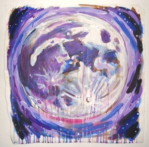 """""""Moon,"""" Acrylic on Paper, 18 x 18 in, 2008"""