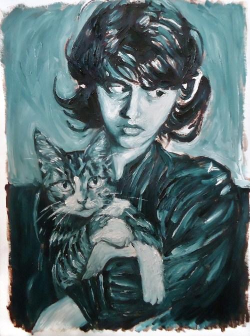 """""""Mouchette et Mouchette,"""" Oil on Paper, 20 x 15 in, April 2014"""