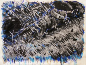 """""""Mouchette's Fall,"""" Acrylic on Paper, 18 x 24 in, November 2012"""