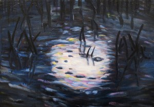 """""""Phenomenology (Moonlight) #1,"""" Oil on Canvas, 11 x 16 in, May 2019"""