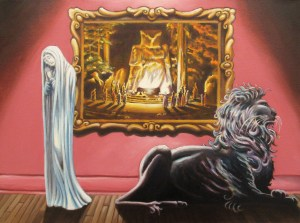 """""""The Pious Bride and the Black Lion,"""" Oil on Canvas, 18 x 24 in, 2015"""