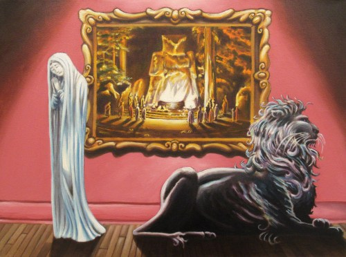 """The Pious Bride and the Black Lion,"" Oil on Canvas, 18 x 24 in, 2015"