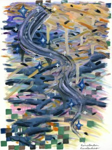 """""""Repetition #12: The Mark,"""" Oil and Enamel on Paper, 12 x 9 in, August 2018"""