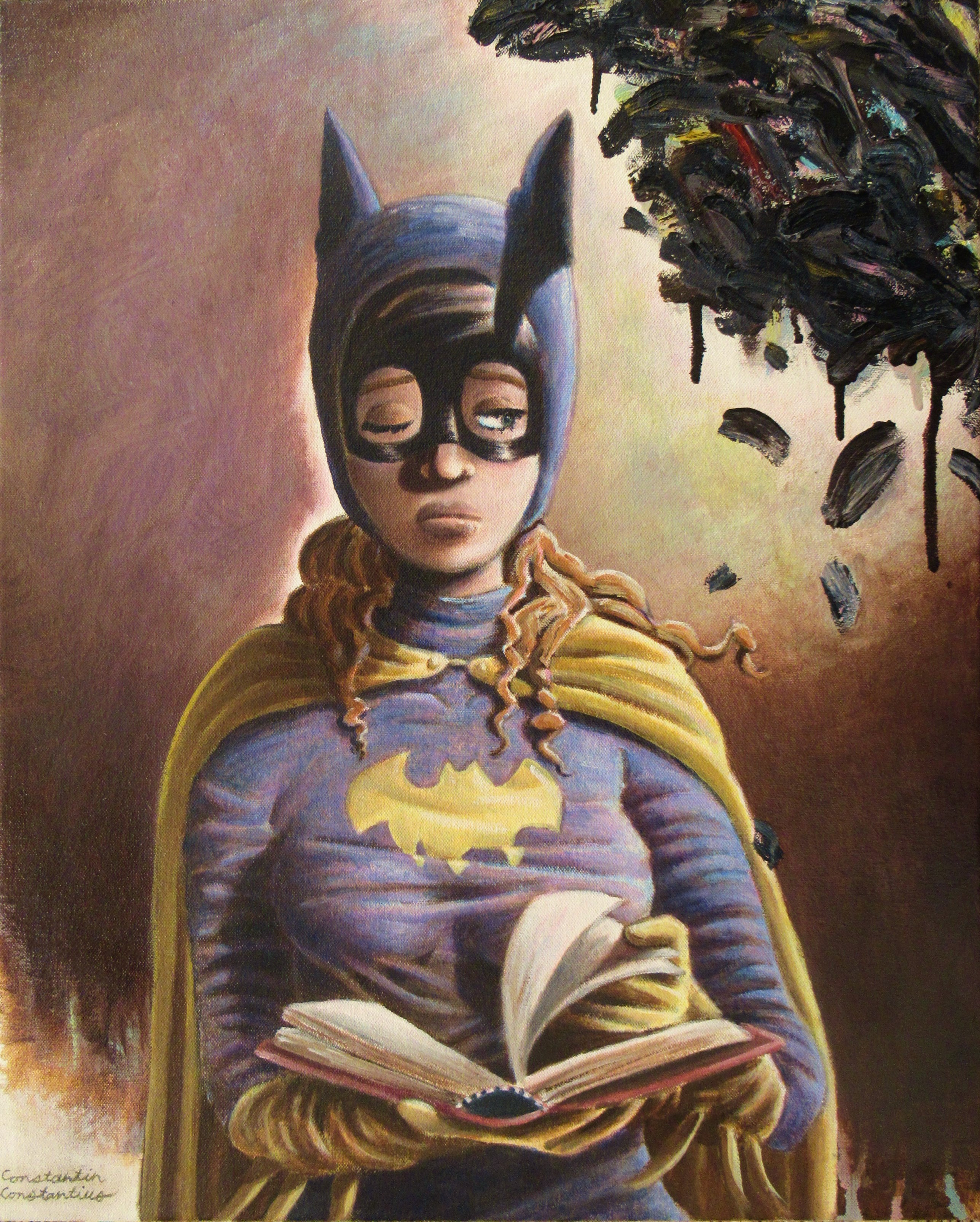 """""""Repetition #17: Portrait of Batgirl,"""" Oil on Canvas, 20 x 16 in, Jul-Aug 2019"""