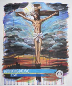 """""""Untitled (Breaking News),"""" Acrylic on Paper, 29 x 24 in, Sept. 2009"""