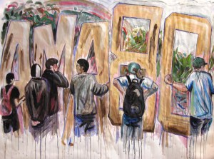 """""""AMABO,"""" Acrylic on paper, 60 x 78 in, 2009"""
