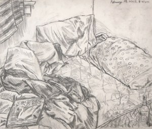 """""""February 15, 2005, 3:41 pm,"""" Pencil on Paper, 17 x 14 in, 2005"""