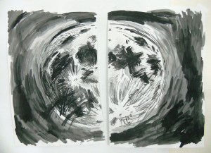 """""""Moon (Gash),"""" Ink on Paper, 24 x 17 in. Each, 2008"""