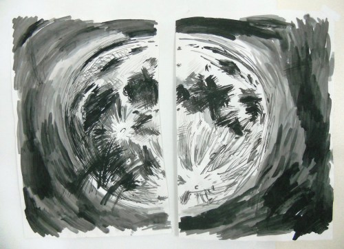 """Moon (Gash),"" Ink on Paper, 24 x 17 in. Each, 2008"