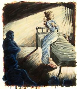 """Viola's Demise,"" Oil on Paper, 17 x 15 in, Mar. 2014"